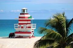 De Toren van de badmeester in het Strand van Miami Stock Foto's