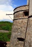 De toren van de defensie van het kasteel van Cerveny Kamen in Slova Stock Fotografie