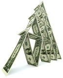 De toren van de dollar van één dollarnota's Royalty-vrije Stock Afbeeldingen