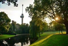 De toren van de Euromastobservatie voor 1960 Floriade speciaal wordt gebouwd die Royalty-vrije Stock Fotografie