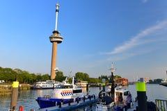 De toren van de Euromastobservatie voor 1960 Floriade speciaal wordt gebouwd die Royalty-vrije Stock Foto's