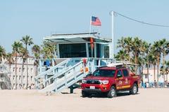 De toren van de het levenswacht op een strand van Venetië in Los Angeles Californië de V.S. Royalty-vrije Stock Foto