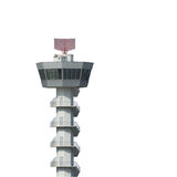 De toren van de luchthavencontrole op witte achtergrond wordt geïsoleerd die Stock Foto