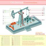 De toren van de olieboortoren of infographic gasinstallatie Stock Foto's