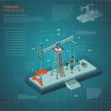 De toren van de olieboortoren infographic op blauw regelingsdocument Stock Foto