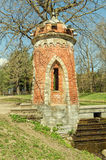 De toren van de Rode Turkse cascade in Catherine Park in Tsarskoye Selo Royalty-vrije Stock Foto