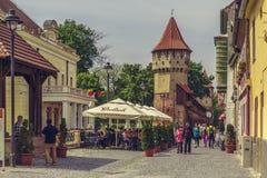 De Toren van de Timmerlieden in Sibiu stad, Roemenië Royalty-vrije Stock Afbeeldingen