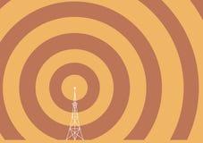 De toren van de uitzending met transmissiegolven Stock Fotografie