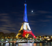 De toren van Eiffel bij nacht, Parijs, Frankrijk Royalty-vrije Stock Afbeeldingen