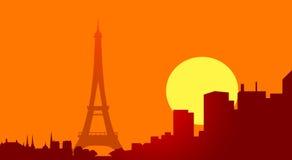 De toren van Eiffel bij zonsondergang-vector Royalty-vrije Stock Foto's