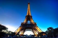 De Toren van Eiffel in de avond Royalty-vrije Stock Foto's