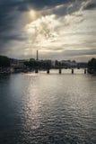 De Toren van Eiffel en Rivierzegen in Parijs, Frankrijk Stock Fotografie