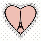 De Toren van Eiffel in het kader van harten Stock Afbeeldingen