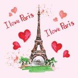 De toren van Eiffel, het van letters voorzien, roze harten Hand getrokken waterverfdecor Stock Afbeelding