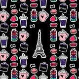 De Toren van Eiffel met koffie en makarons De stijl van Parijs Oppervlakteontwerp De vectorstickers van de schetsillustratie op z stock illustratie