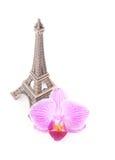 De toren van Eiffel met roze bloem Royalty-vrije Stock Afbeeldingen