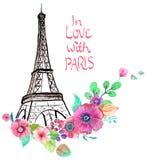 De toren van Eiffel met waterverfbloemen Royalty-vrije Stock Foto's