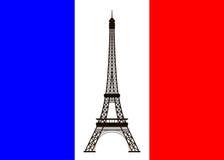 De toren van Eiffel op achtergrond van de vlag van Frankrijk Stock Afbeeldingen