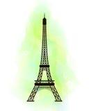 De toren van Eiffel op kleurrijke achtergrond vector illustratie