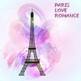 De toren van Eiffel op kleurrijke achtergrond royalty-vrije illustratie