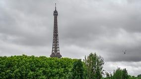 De Toren van Eiffel over bomen met stormachtige wolken Stock Afbeeldingen
