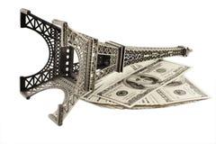 De Toren van Eiffel in Parijs en geld Royalty-vrije Stock Afbeeldingen