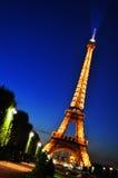 De toren van Eiffel in Parijs, 's nachts Frankrijk Royalty-vrije Stock Fotografie