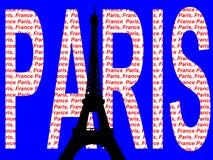 De toren van Eiffel tegen de tekst van Parijs Stock Afbeeldingen