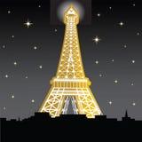 De toren van Eiffle bij nacht royalty-vrije illustratie