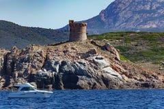 De toren van Genoese in Corsica Royalty-vrije Stock Foto