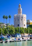 De toren van Goud, in Sevilla, Zuidelijk Spanje Stock Foto's