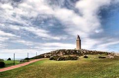 De toren van hercules in La Coruna Stock Afbeeldingen