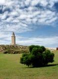 De toren van hercules in La Coruna Stock Foto