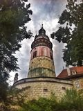 De Toren van het Český Krumlov Kasteel Stock Foto's