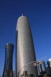 De Toren van het Bureau van Doha, door Jean Nouvel, in Doha, Qatar Royalty-vrije Stock Afbeeldingen