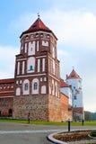 De toren van het kasteel in stad Mir in Wit-Rusland Royalty-vrije Stock Fotografie