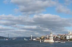 De Toren van het meisje en Bosphorus Brug, Turkije Royalty-vrije Stock Afbeeldingen
