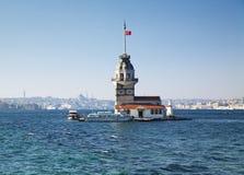 De Toren van het meisje in Istanboel, Turkije royalty-vrije stock foto's