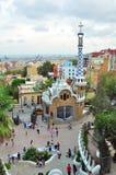 De toren van het mozaïek in Park Guell, Barcelona, Spanje Stock Afbeeldingen