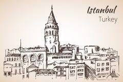 De Toren van Istanboel Galata Turkije schets Stock Afbeelding