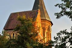 De toren van de Koenigsbergkathedraal op een de zomeravond Gotisch van de 14de eeuw Kaliningrad, Rusland stock afbeeldingen