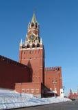 De Toren van Kremlins van Saivoury (Spasskay) met horologium Royalty-vrije Stock Afbeeldingen