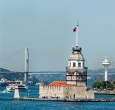 De Toren van Leander ` s van de meisje` s Toren - Kiz Kulesi Istanboel, Turkije Royalty-vrije Stock Foto's