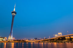 De toren van Macao, het beroemde oriëntatiepunt van Macao Stock Fotografie