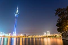 De toren van Macao, het beroemde oriëntatiepunt van Macao Royalty-vrije Stock Fotografie