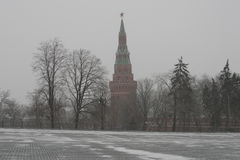 De Toren van Moskou het Kremlin in de koude winter Stock Afbeeldingen