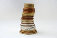 De toren van muntstukken Stock Afbeeldingen