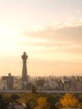 De toren van Osaka als Tsutenkaku in avondtijd die wordt bekend Royalty-vrije Stock Afbeelding
