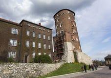 De toren van oud Koninklijk Kasteel Wawel Stock Fotografie