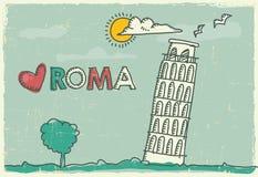 De toren van Pisa op een Affiche en een Prentbriefkaar Royalty-vrije Stock Afbeeldingen